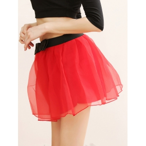 Layered Bowknot Mini Skirt - RED ONE SIZE