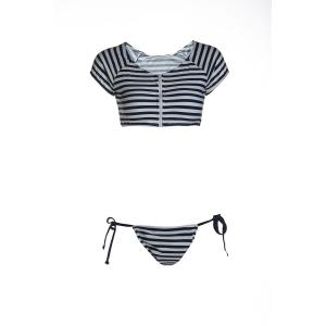 Scoop Neck Short Sleeve Striped Bikini Set