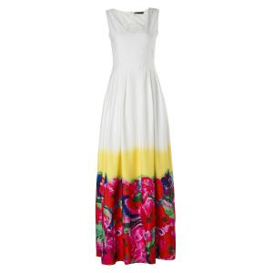 Slimming V-Neck Sleeveless High-Waisted Floral Print Women's Maxi Dress
