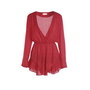 Fashionable V-Neck Solid Color Flounce Long Sleeve Playsuit For Women