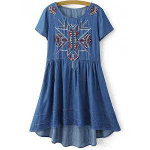 Stylish Round Neck Short Sleeve Ethnic Embroidery Women's Dress - Blue - S
