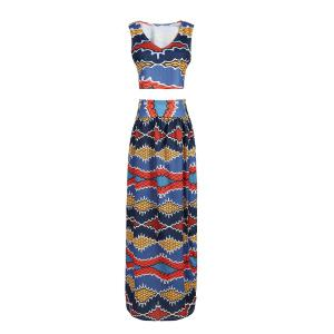Weave Print Cropped Top and High Slit Skirt Twinset For Women - Colormix - M