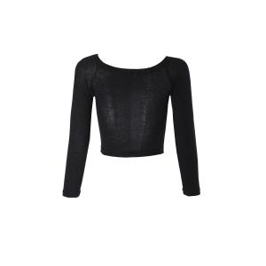 Sexy Style Slash Neck Solid Color Long Sleeve Crop Top For Women