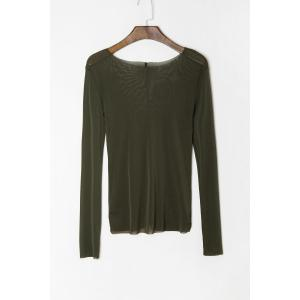 Stylish Scoop Neck Long Sleeve See-Through Women's T-Shirt - Army Green - Xl
