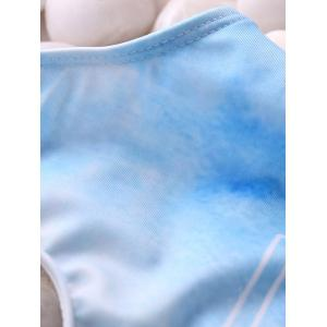 Printed Tie Dye One Piece Swimwear - LIGHT BLUE L