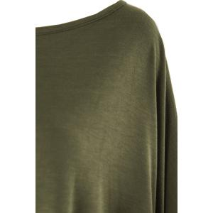 Stylish Scoop Neck Solid Color Asymmetrical Women's Dress - ARMY GREEN 2XL