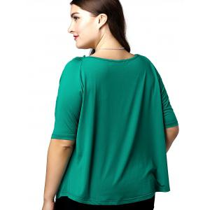 Fashionable V-Neck Openwork 1/2 Sleeve Plus Size Top For Women - JADE GREEN XL