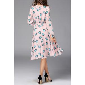 Long Sleeve Midi Silk Dress -
