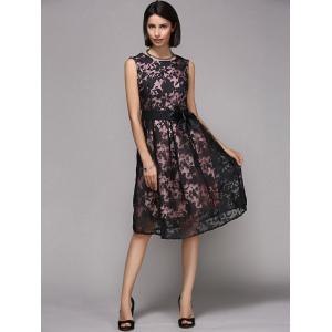 Elegant Round Neck Sleeveless Floral Print Organza Dress For Women - Black - L