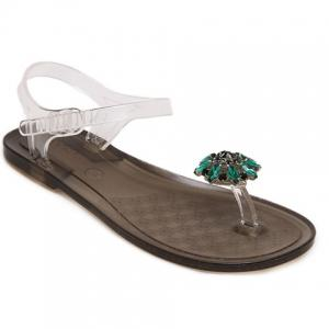 Simple Transparent Plastic and Rhinestones Design Sandals For Women - Green - 38