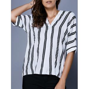 V Neck Striped Button Up Blouse