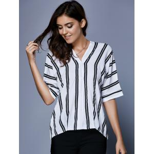 V Neck Striped Button Up Blouse - WHITE AND BLACK XL