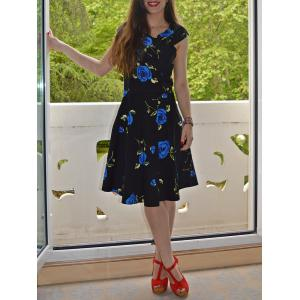 Retro Style V-Neck Rose Print Short Sleeve Ball Dress - Blue - M