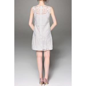 Embroidered Solid Color See Through Sleeveless Dress -