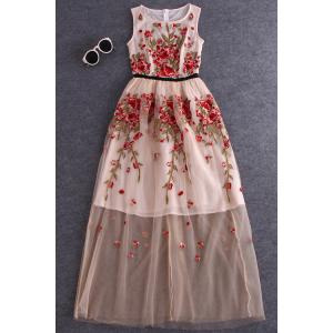 Round Neck Embroidery High Waisted Dress -