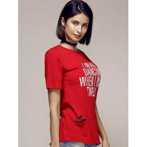 Stylish Round Neck Cut Out Letter Pattern Short Sleeve T-Shirt For Women -