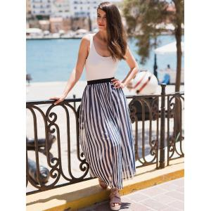 Chic High Waist Vertical Striped Maxi Skirt -