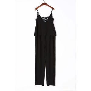 Chic Spaghetti Strap Sleeveless Cut Out Women's Jumpsuit - Black - 2xl