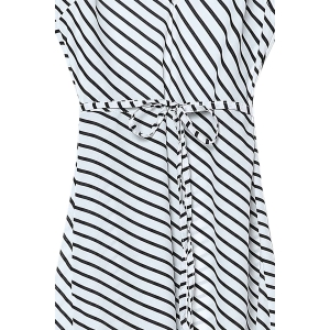 Sexy Plunging Neck Sleeveless Striped Self Tie Belt Backless Dress For Women -