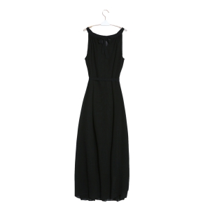 Sleeveless Maxi Chiffon Beach Swing Dress - BLACK M