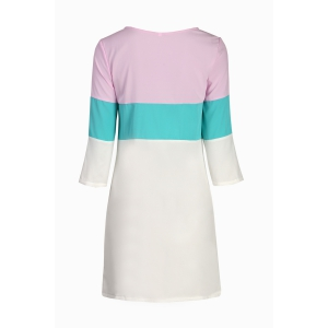 Stylish Round Neck 3/4 Sleeve Color Block Loose Dress For Women - COLORMIX S