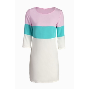 Stylish Round Neck 3/4 Sleeve Color Block Loose Dress For Women - Colormix - S