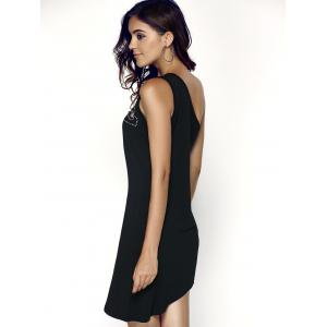 One Shoulder Asymmetric Short Club Dress - BLACK M
