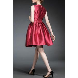 Waisted Corset Solid Color Dress - CLARET XL