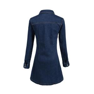 Casual Polo Collar A-Line Long Sleeve Shirt Dress - PURPLISH BLUE S