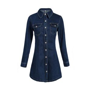 Casual Polo Collar A-Line Long Sleeve Shirt Dress