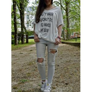 Fashion V-Neck Letter Print 1/2 Sleeve T-Shirt For Women -