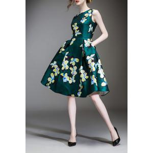 Waisted Corset Clover Print Dress -