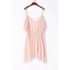 Sweet Spaghetti Strap Pink Chiffon Dress For Women