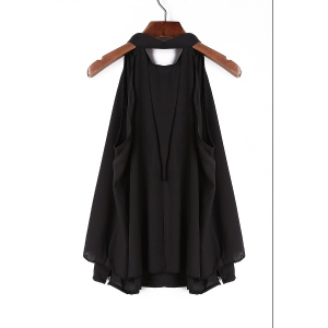 Chic Bow Tie Collar Sleeveless Pure Color Women's Blouse - BLACK S