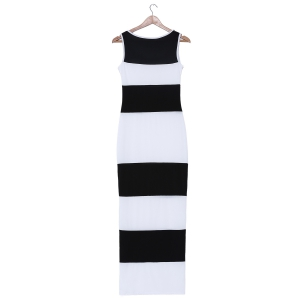 Stylish Scoop Neck Sleeveless Bodycon Striped Dress For Women -