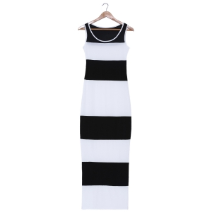 Stylish Scoop Neck Sleeveless Bodycon Striped Dress For Women - White And Black - Xl