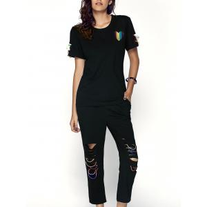 Trendy Women's Heart Pattern Spliced T-Shirt + Drawstring Ripped Capri Pants Twinset