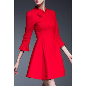 Mandarin Collar Solid Color Dress -