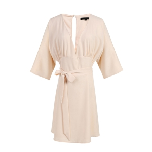 Sexy Plunging Neck 3/4 Sleeve Hollow Out Pink Dress For Women