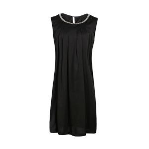 Elegant Round Neck Sleeveless Beaded Plus Size Dress For Women - Black - 2xl