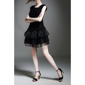 Solid Color Tiered Gauze Spliced Dress - BLACK XL