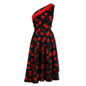 Vintage One-Shoulder Sleeveless Cherry Printed Flare Dress For Women - CERISE XL