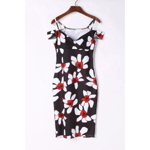 Sexy Spaghetti Strap Short Sleeve Floral Print Women's Bodycon Dress