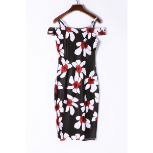 Sexy Spaghetti Strap Short Sleeve Floral Print Women's Bodycon Dress - BLACK S