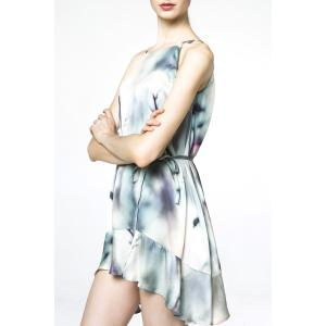 Spaghetti Strap Print Flounce Dress -