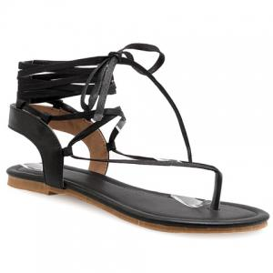 Lace Up Calf Thong Sandals -