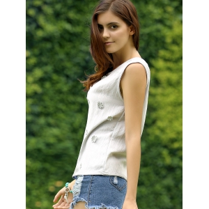 Floral Embroidery Back Button Top For Women -