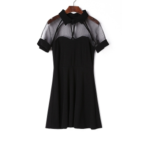 Stylish Black Flat Collar Short Sleeve See-Through Dress For Women