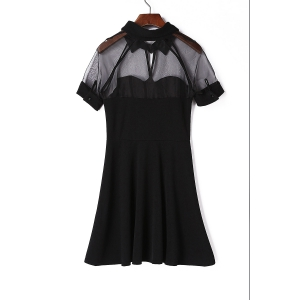 Stylish Black Flat Collar Short Sleeve See-Through Dress For Women - BLACK ONE SIZE(FIT SIZE XS TO M)