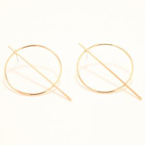 Pair of Statement Stick Circle Earrings